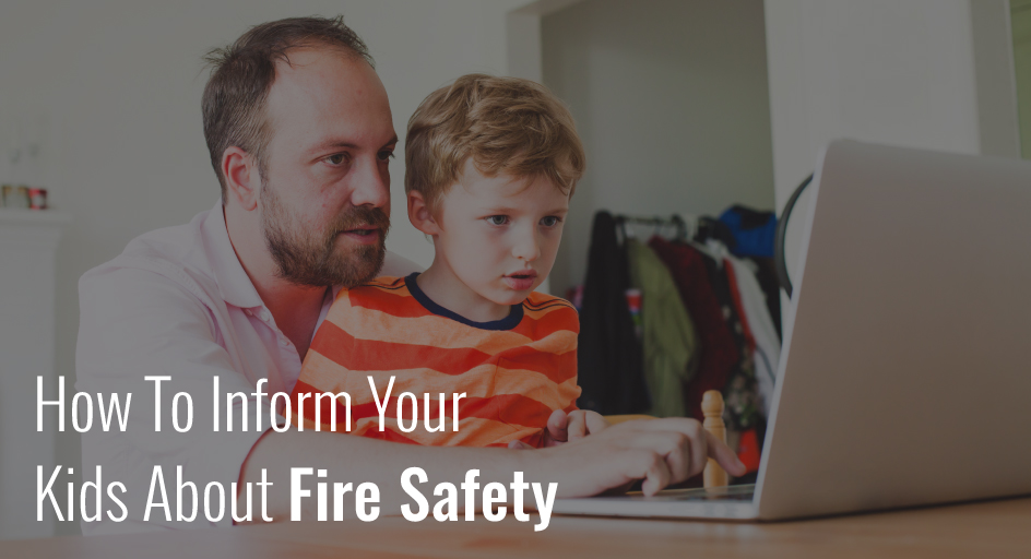 blog image of parent teaching child on the laptop; blog title: how-to-inform-your-kids-about-fire-safety